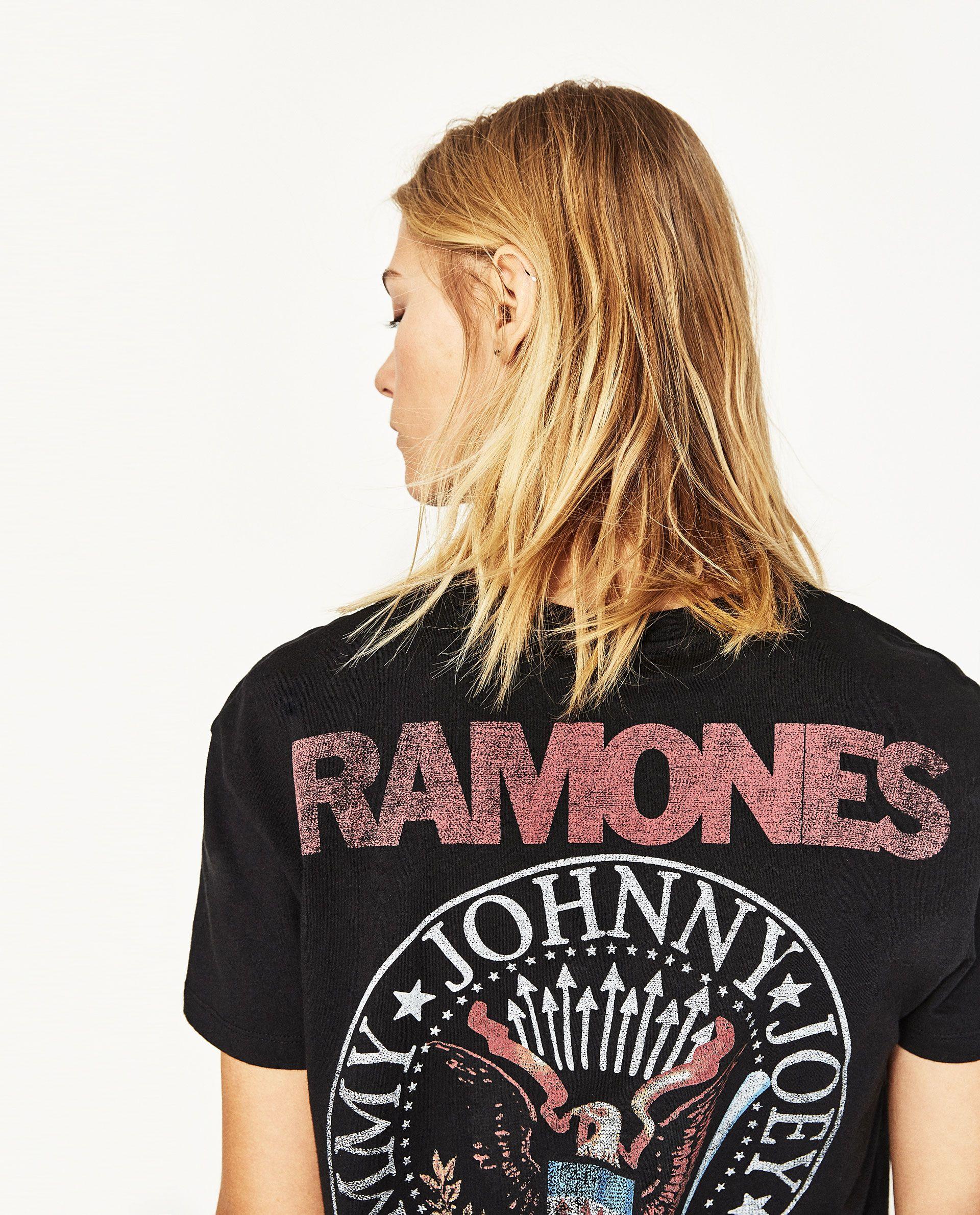 fca9628cdc CAMISETA MANGA CORTA RAMONES en 2019   Rock tees   Zara mujer 2017 ...