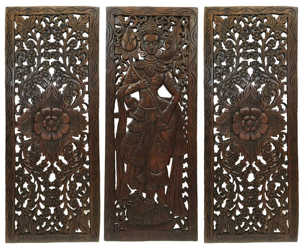 Large Wooden Wall Art multi panels oriental home decor. wood carved floral wall art