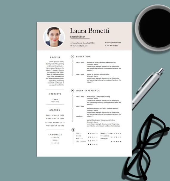 Modern Professional Resume Template for MS Word Creative Resume - m w resume