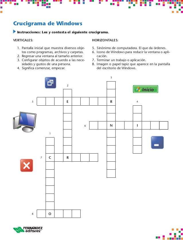 Crusigramas del computador | actividades para primaria | Pinterest ...