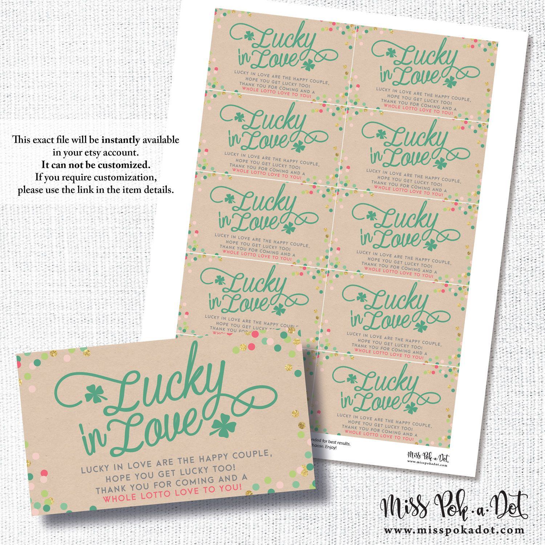 LUCKY IN LOVE Irish St Patrick s bridal wedding shower lotto thank