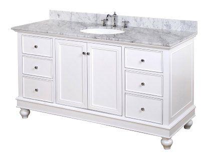 Includes White Cabinet with Authentic Italian Carrara Marble Countertop and White Ceramic Sink Bella 60-inch Single Bathroom Vanity Carrara//White