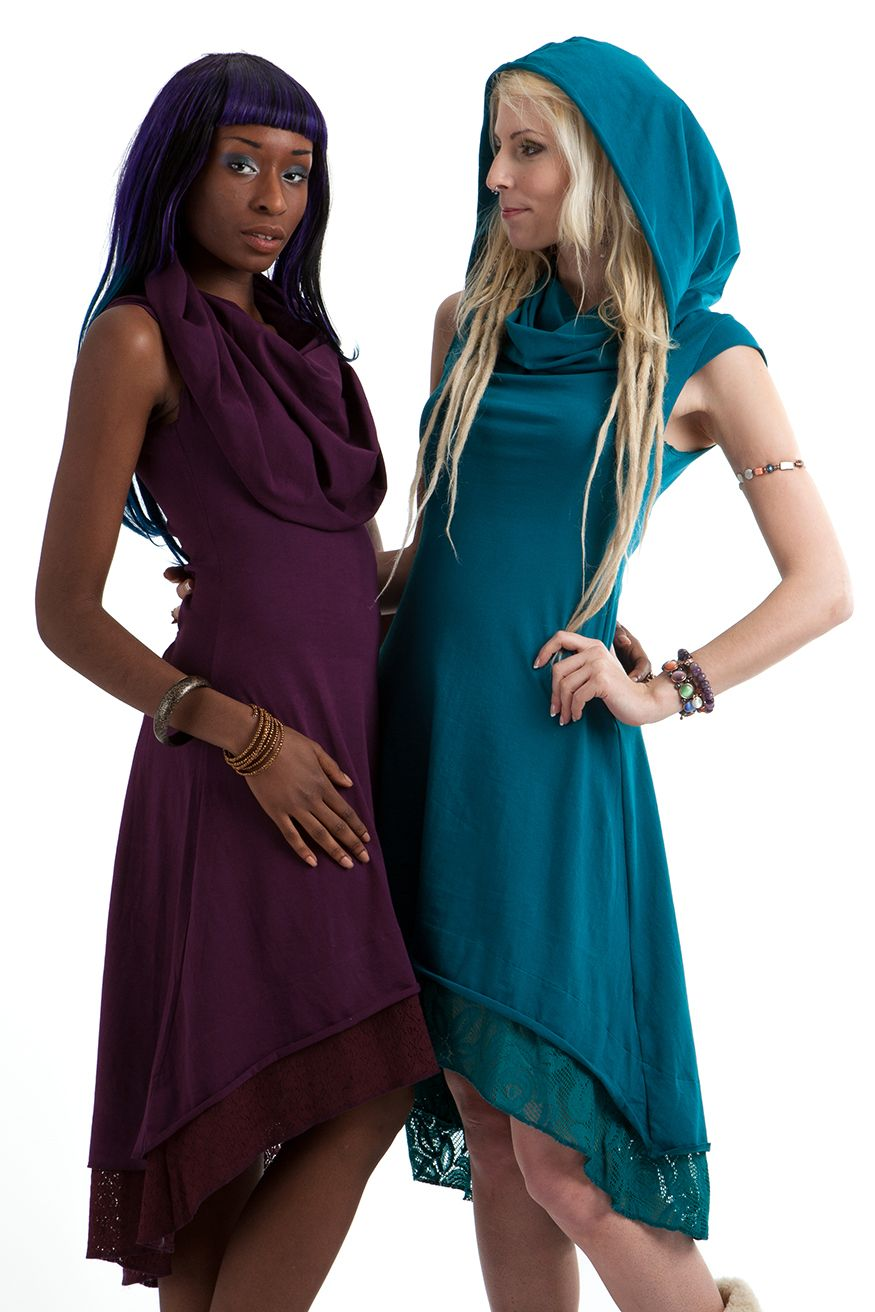 Large neck / hood dress £45.99 by GEKKO BOHOTIQUE  Goa Trance,Steampunk,Psytrance,Hippie,Boho,Tribal festival clothing. Pocket belts, hats and wrists Warmers.Come visit our shops in Camden and Greenwich Markets
