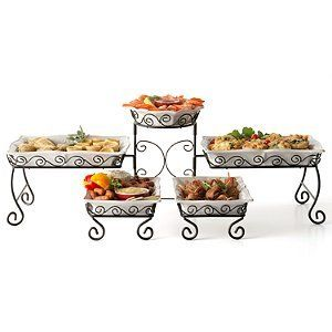 Tiered Buffet Server By Swc 89 97 Stoneware Serving Dishes Are Dishwasher Microwave And Oven Safe Includes 5 Stonewar Buffet Server Serving Dishes Buffet