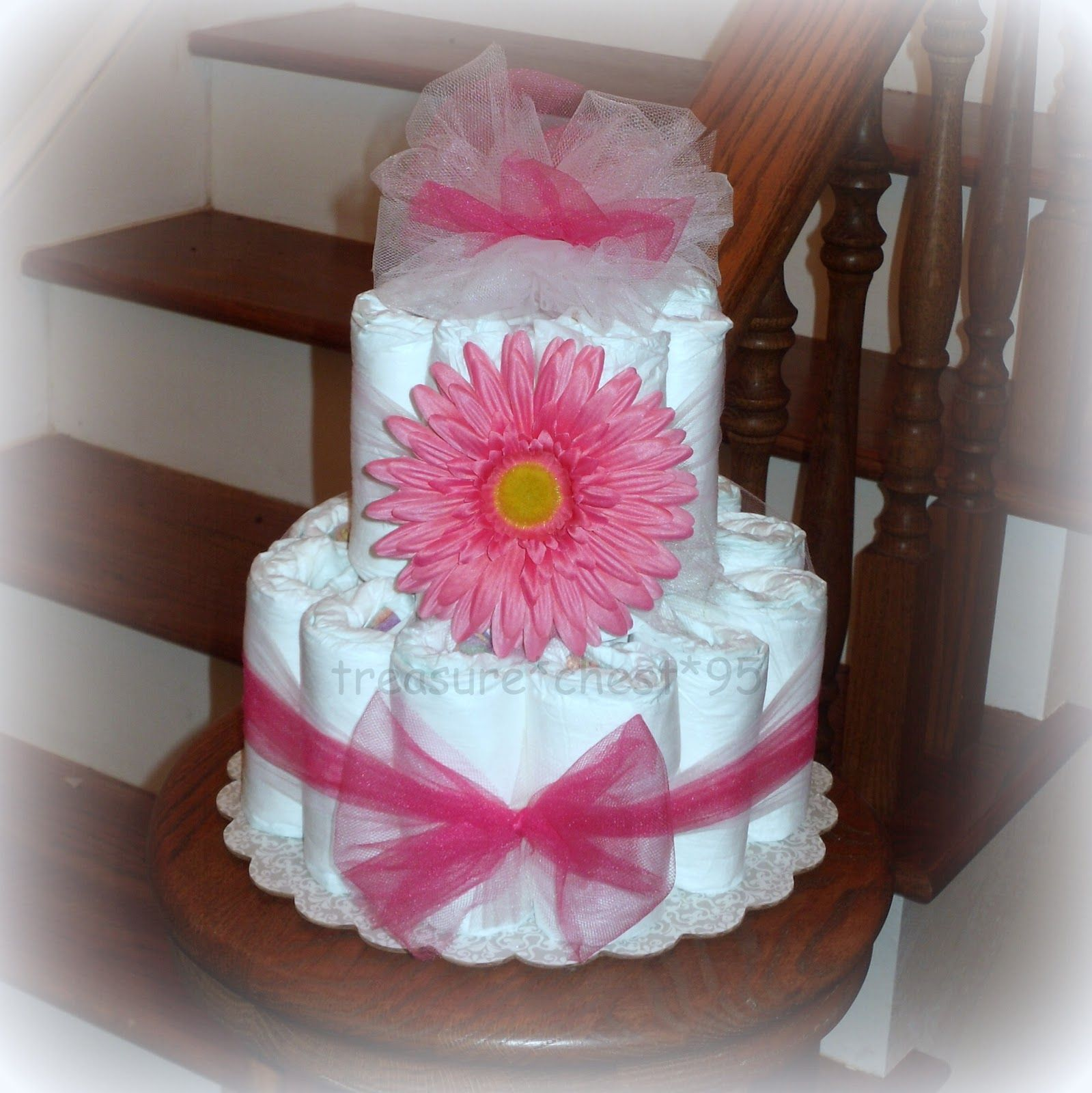 Gerber Daisy Diaper Cake Centerpiece Baby Shower Gift Table