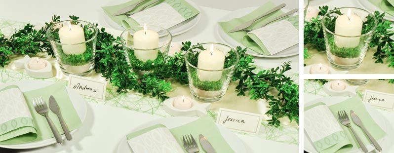 Tischdekoration zur hochzeit in hellgr n und creme mit buchsbaumgirlande tischdeko zur - Brautpaar tischdeko ...