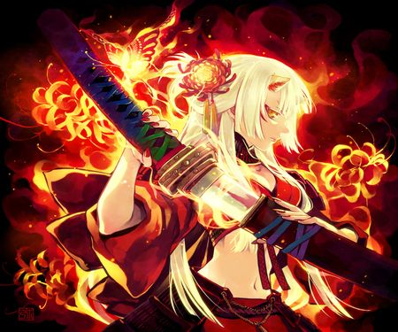 Anime samurai demon girl anime anime cool anime girl - Anime girls with fire ...