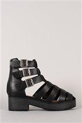 ef6fb814e1be Breckelle Teela-01 Black Buckle Strappy Gladiator Sandal