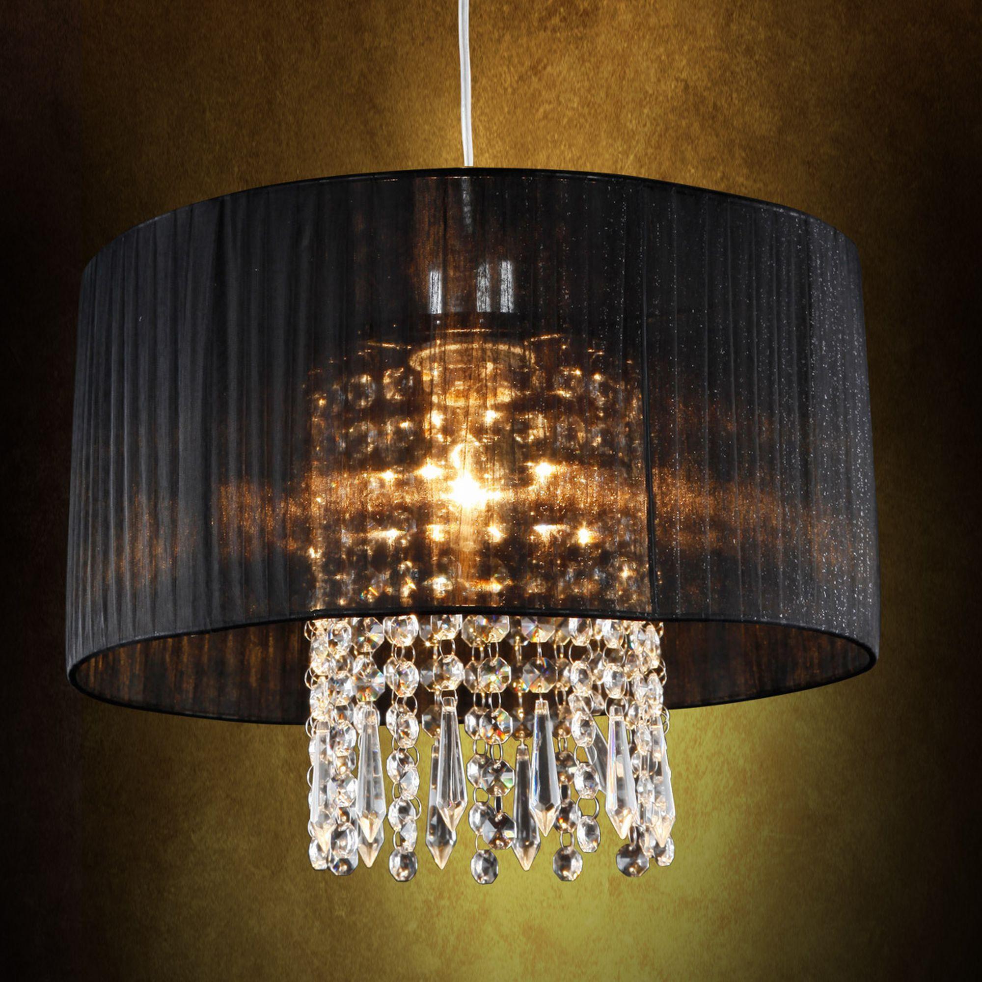 Moderne Deckenleuchte Hängeleuchte Kronleuchter Lüster Schwarz Stoff Kristall Ebay Kronleuchter Kristall Lampe Hängeleuchte