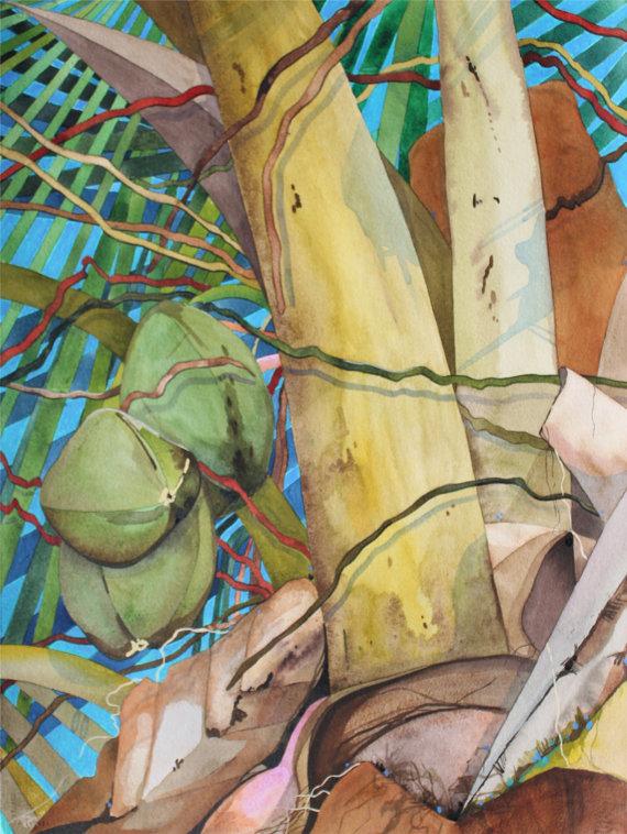 Art Original Watercolor Painting Of Hawaiian Coconut Tree
