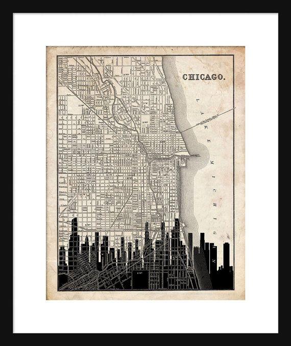 Chicago Map Skyline Print Poster Vintage Grunge