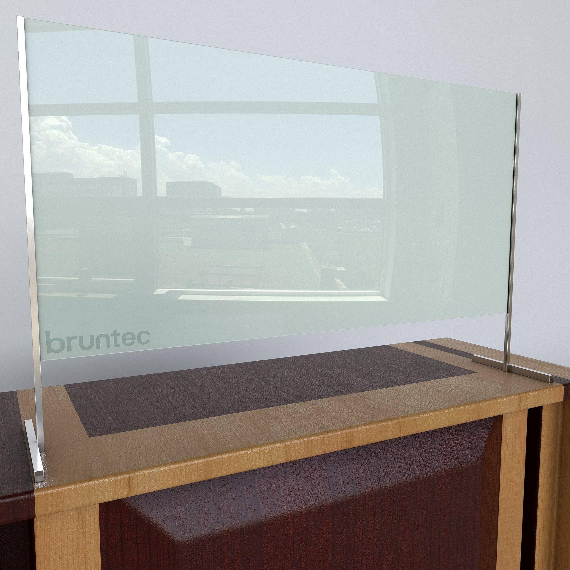 Mampara Separadora De Protección De Cristal 70 Cm Alto Sin Ventana Basic Plata Brillo De Bruntec Ventanas Mampara De Cristal Vidrio Templado