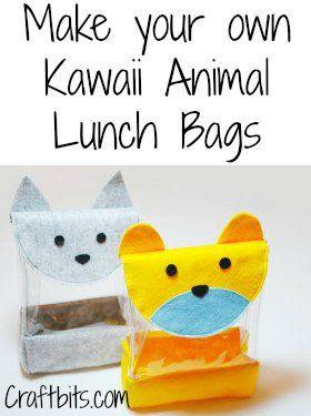 DIY Kawaii Animal Lunch Bag  Será interessante para os rapazes mais novos??