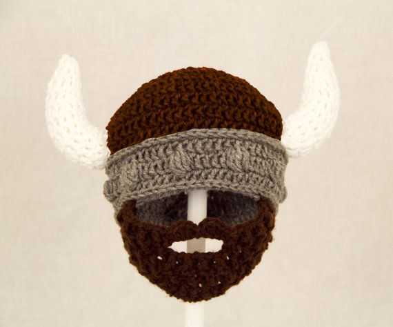 Viking Beard Hat Brown and Grey Crochet Beard Beanie | Bearded ...