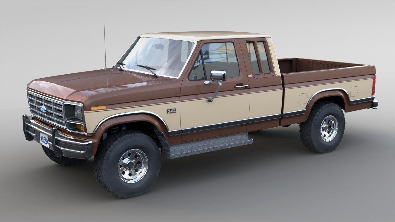 3d 1986 F 150 Supercab Turbosquid 1261634 Ford Pickup Trucks Classic Ford Trucks Ford F150 Lifted