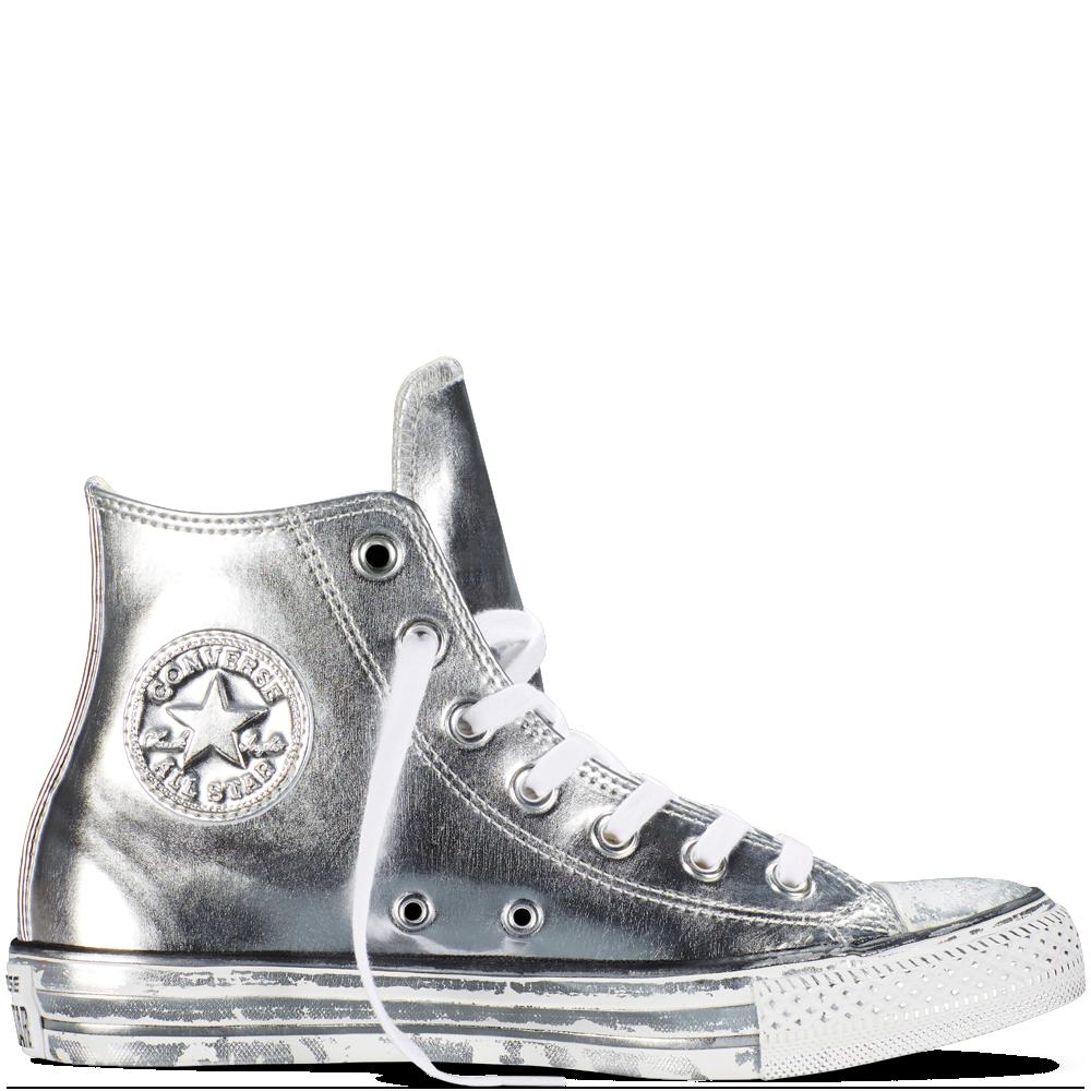 Chuck Taylor All Star Chrome Leather SilverWhiteBlack