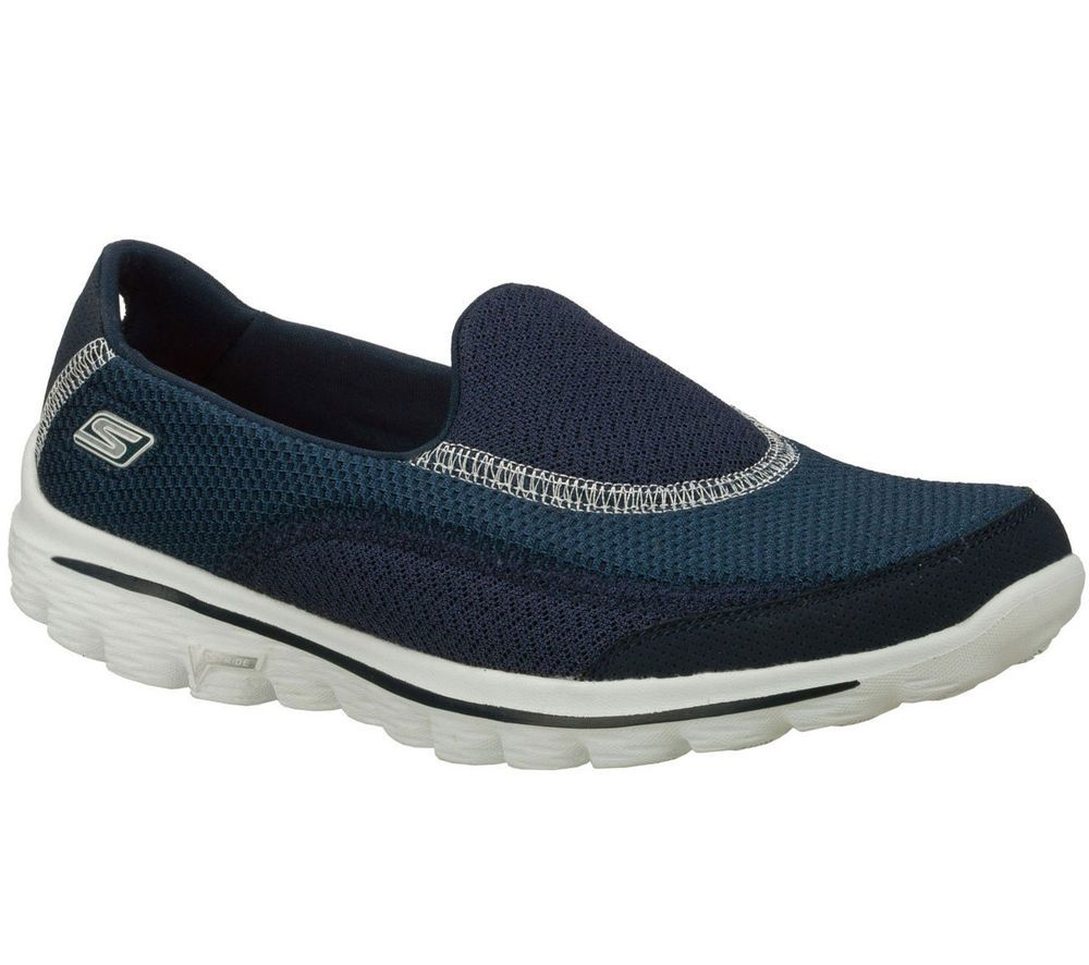 Skechers Go Walk 2 Size 3 4 5 6 8 Black Navy Black White