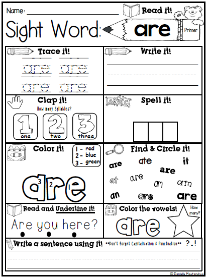 Sight Word Print Amp Go No Prep Packet Dolch Primer