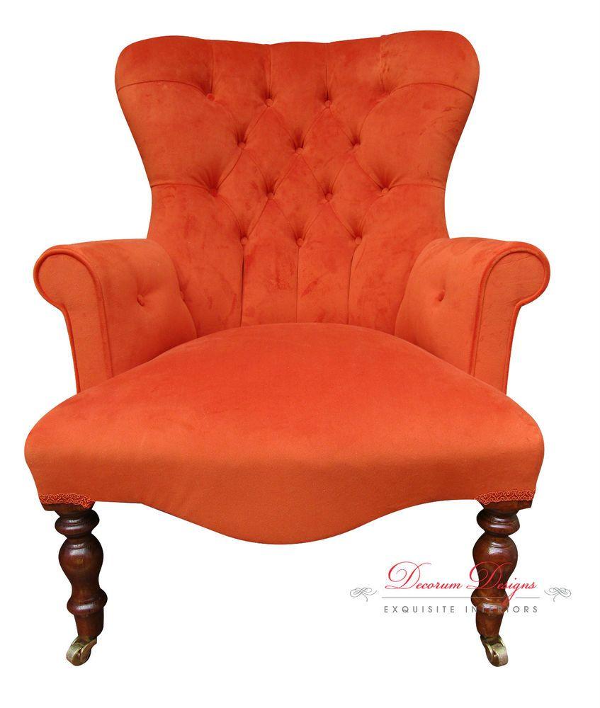 Burnt Orange Armchair Uk Kids Table Chair Vintage Retro Velvet Button Back Hand Made In