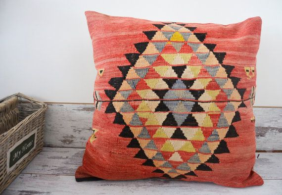 Large Throw Pillow Handwoven Kilim Pillow 70x70 Cm 28x28