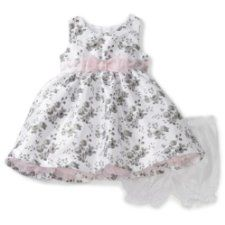 Baby girl clothes#Nannette Baby-girls Infant Rose Print Shangtung Dress with Faux Diamonte Slider, White, 18 Months