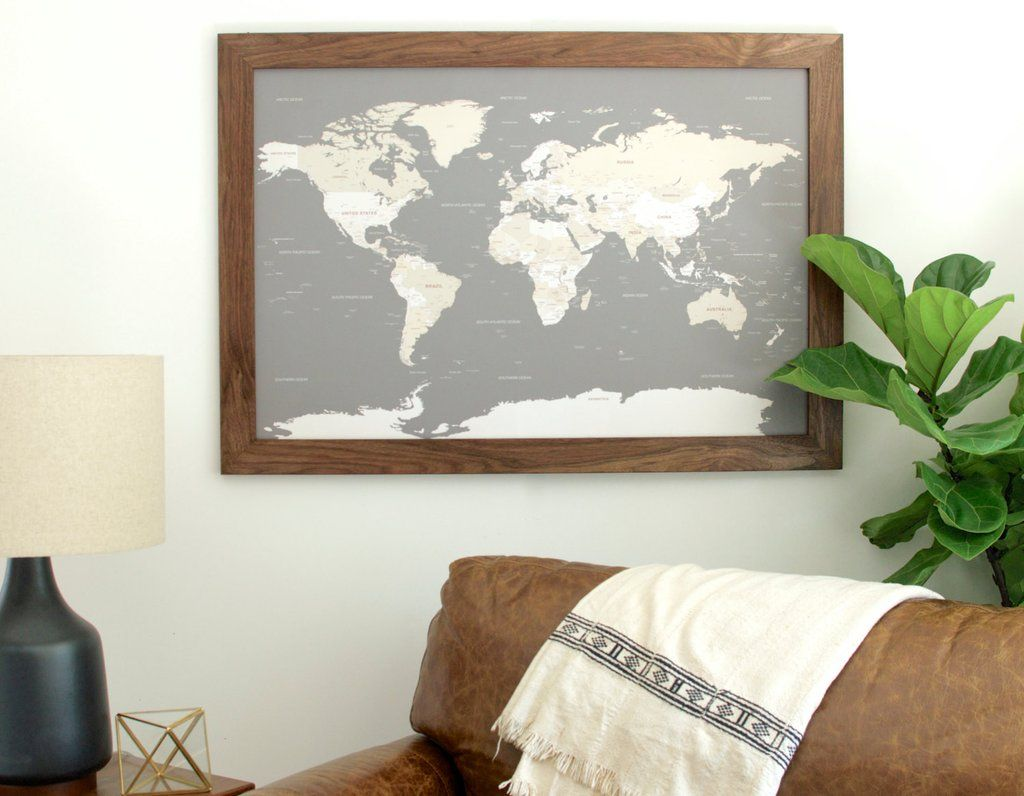 Large grey world push pin travel map walnut frame travel maps large grey world push pin travel map walnut frame gumiabroncs