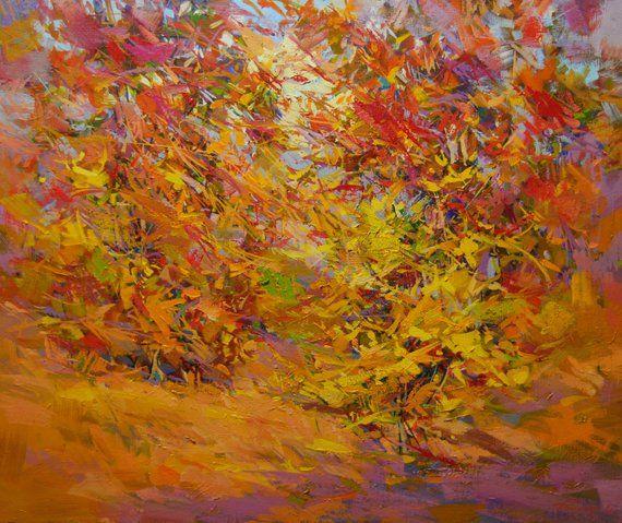 Oil painting fall, landscape painting, autumn canvas art, orange