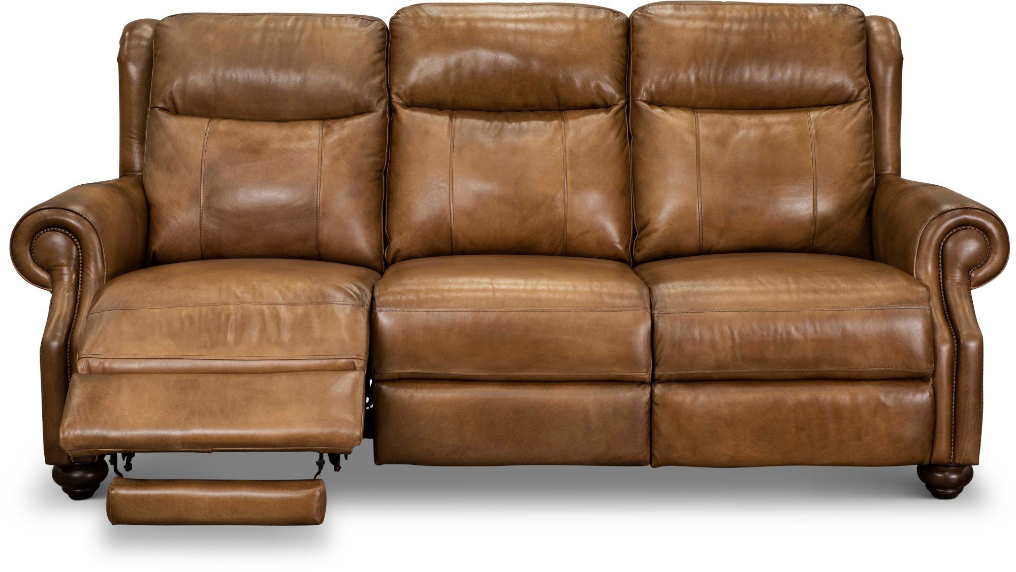 Toffee Brown Leather Power Reclining Sofa With Power Headrest