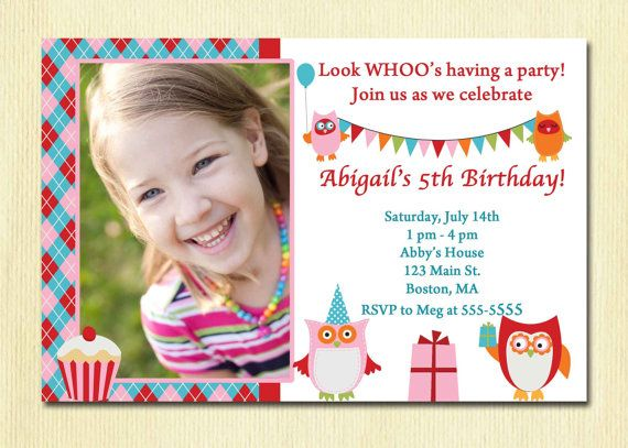 Owl Birthday Party Girl Invitation 1 2 3 4 5Any Year Old – 2 Year Old Birthday Invites