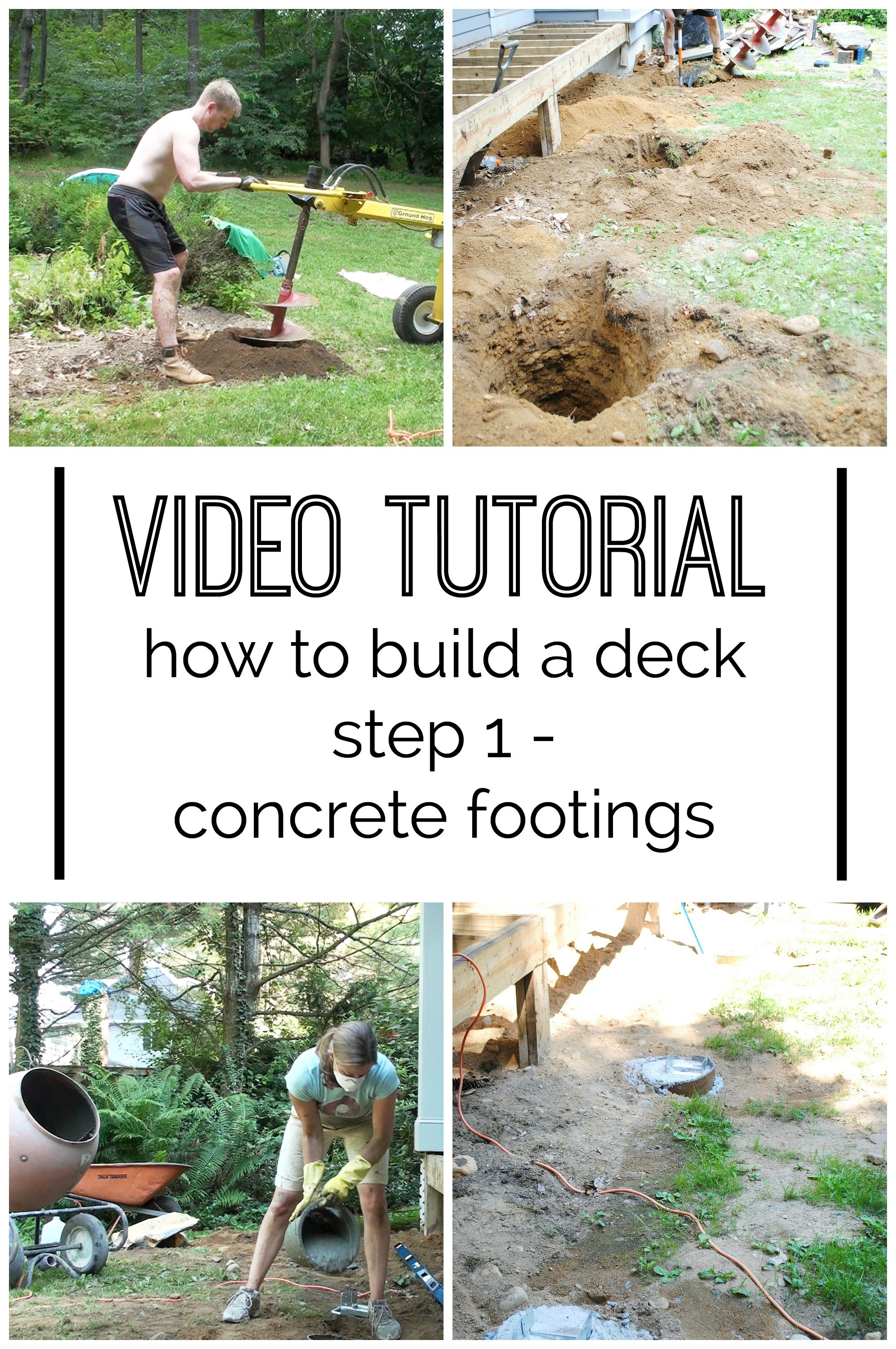 How to build a deck video Steps How To Build Deck This Post Has Both Video And Text Tutorials For The Pinterest Video How To Build Diy Deck Concrete Footings Great Ideas
