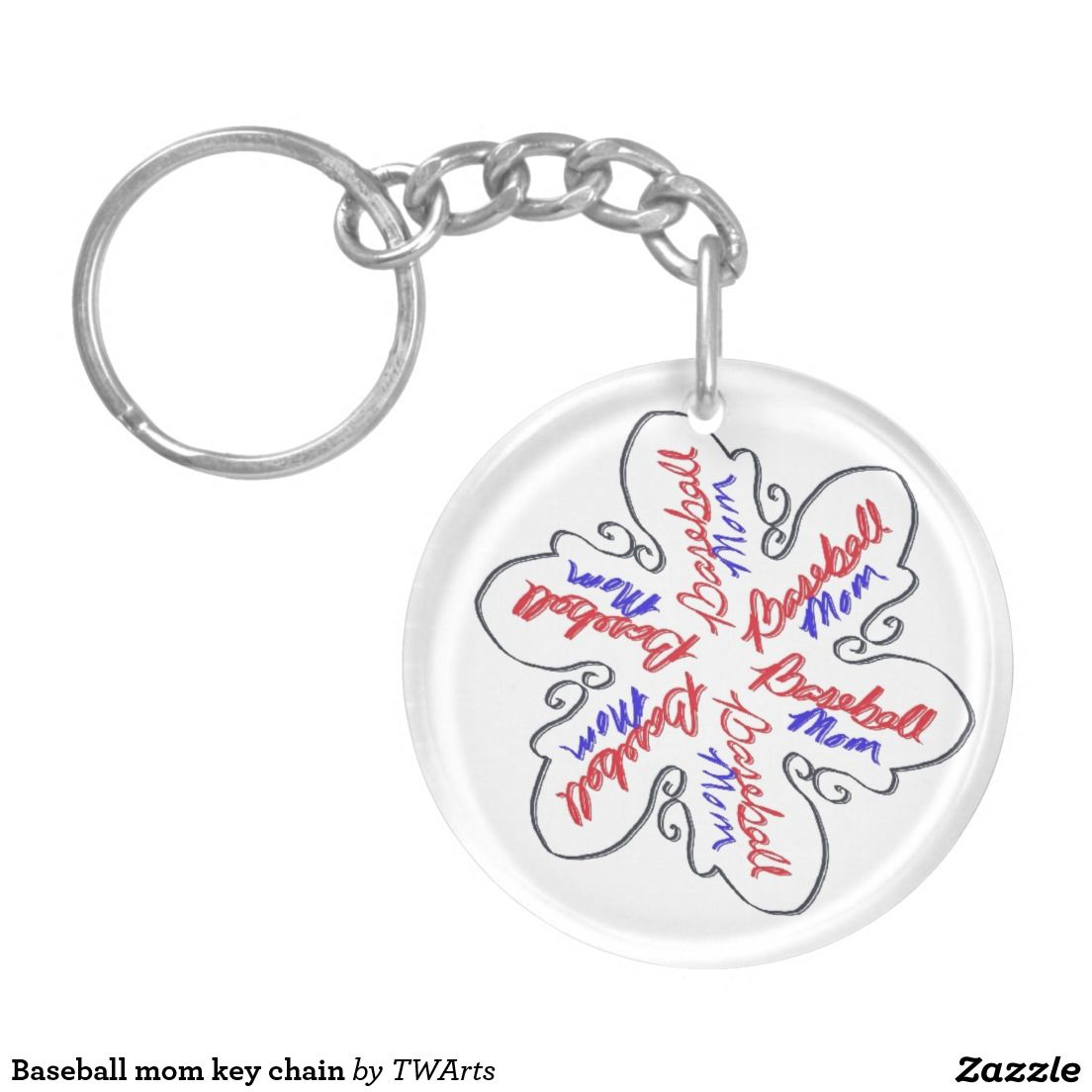 Baseball mom key chain