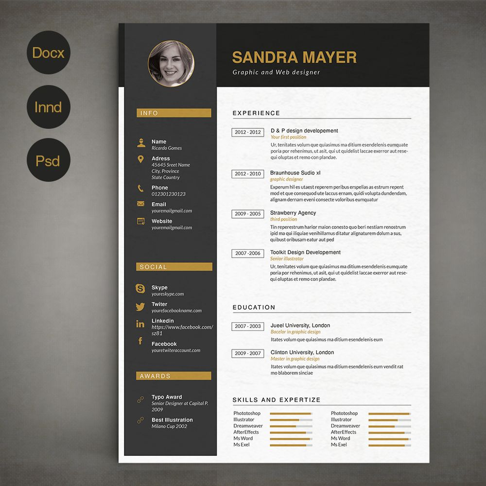 Resume Template B By Sz On Creativemarket  Marketing