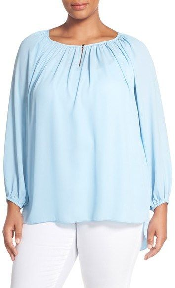 2a463338a04 Vince Camuto Shirred Neck Peasant Blouse (Plus Size). Find this Pin and  more on Plus Size Tops by Shapely Chic Sheri.
