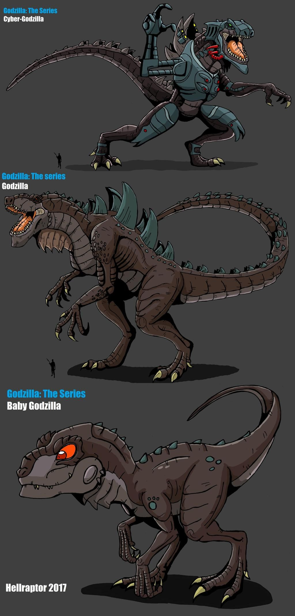 Godzilla 1998 Animated Series Trio by HellraptorStudios on