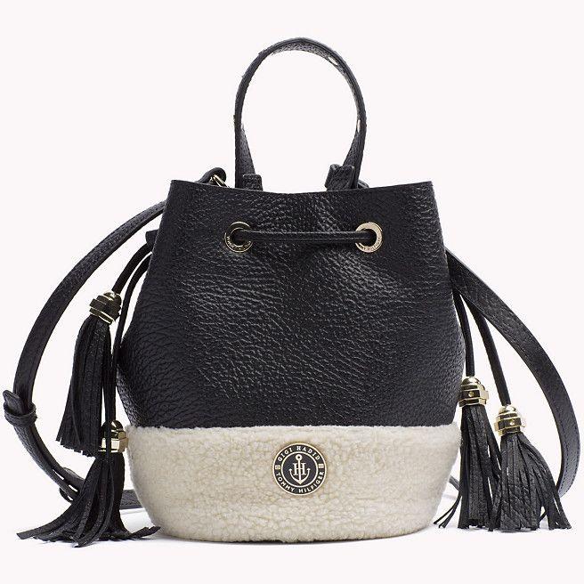 Tommy Hilfiger Leather Bucket Bag Gigi Hadid - black / natural - Tommy Hilfiger Bucket Bags - detail image 1