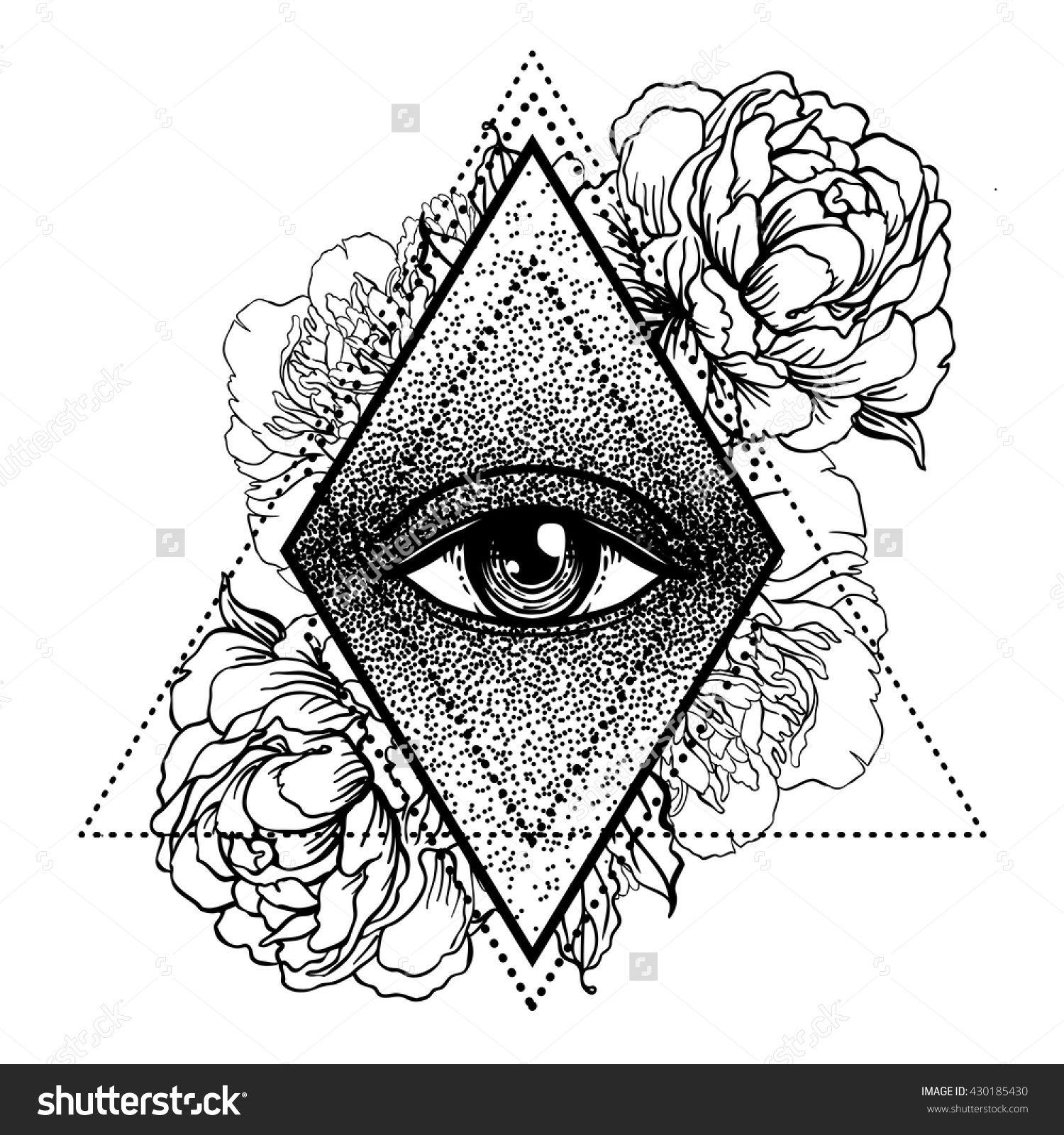 All Seeing Eye Pyramid Symbol With Peony Flower Sacred