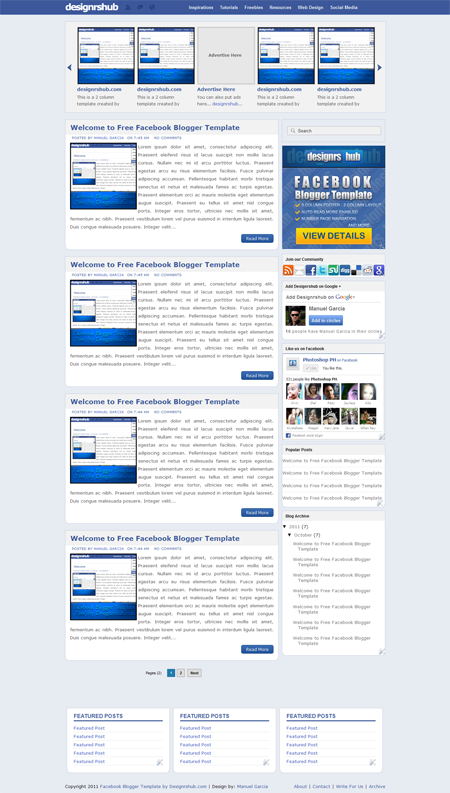 Free Facebook Blogger Template By Designrshubcom Social Media - Timeline blogger template