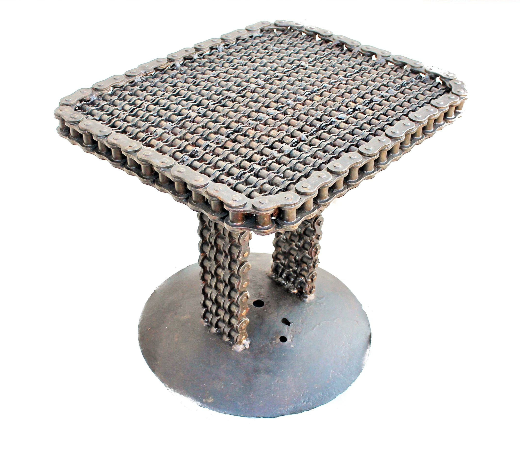 Furniture Unique: Welded Recycled Metal End Tables, Upcycled Side Table