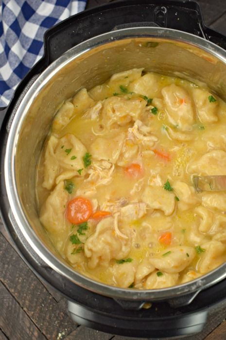 instant pot chicken and dumplings are a hearty old