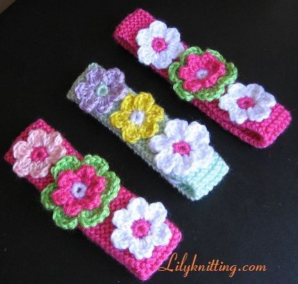 Knitted Headband Patterns With Flower : PATTERN in PDF Crocheted\/Knitted flower baby headband Ear warmer headband ...