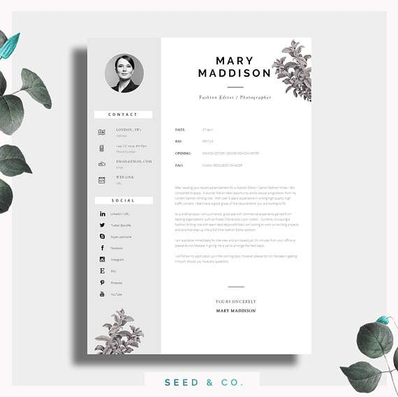 Resume Template Two Page Resume + Cover Letter + Advice - two page resumes