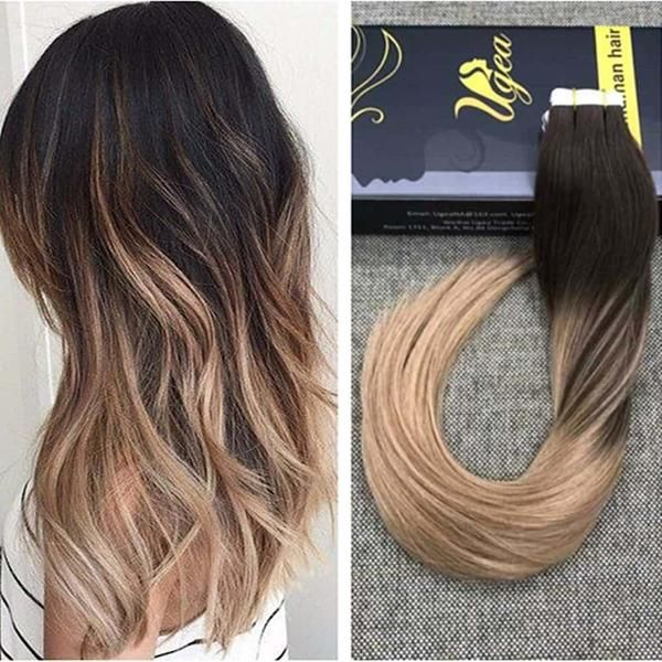 Remy Tape In Hair Extensions Ombre Brown With Bleach Blonde 6613