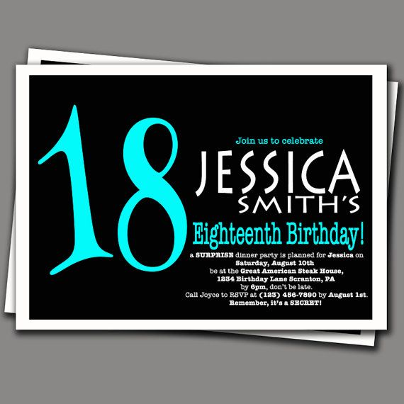 Surprise 18th birthday invitation aqua blue and black adult party 18 birthday invitation templates birthday party invitation wording wordings and messages birthday invitation maker and how to make your own invitation stopboris Choice Image