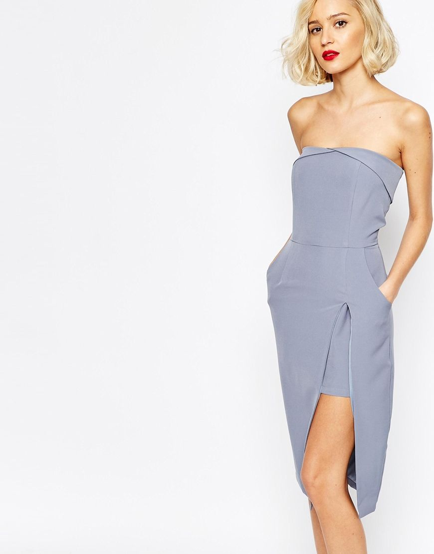 baskets variété de dessins et de couleurs grande vente de liquidation Lavish Alice Bandeau Body-Conscious Midi Dress with Neckline ...