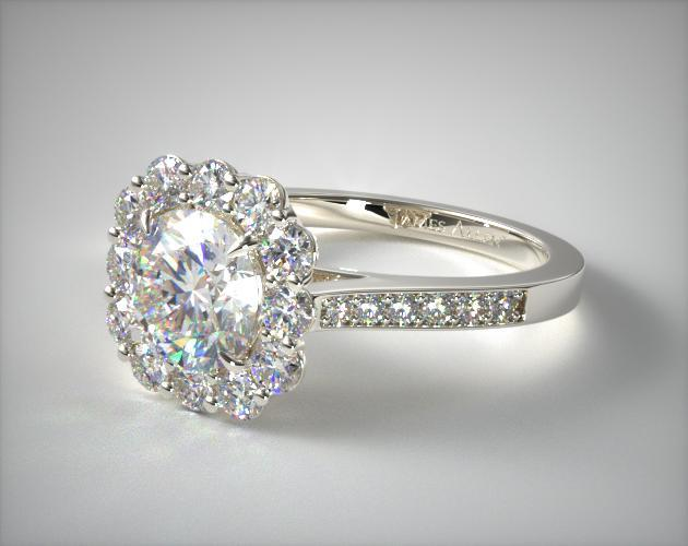 14K White Gold Grande Diamond Halo Engagement Ring SKU: 17461W14 # OF DIAMONDS:24 TOTAL CARAT (MIN):0.76 ctw AVERAGE COLOR:F-G AVERAGE CLARITY:VS2-SI1