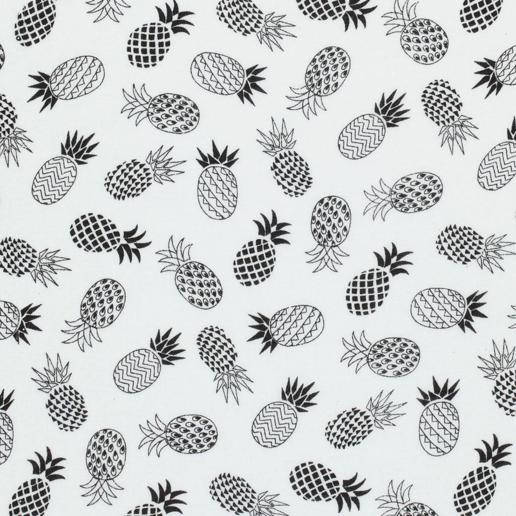Tissu viscose ananas noir et blanc mondial tissus mondial tissus pinteres - Tissus noir et blanc ...