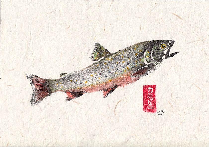 Gyotaku of trout | TENKARA | Pinterest | Trout, Fish and Fish art