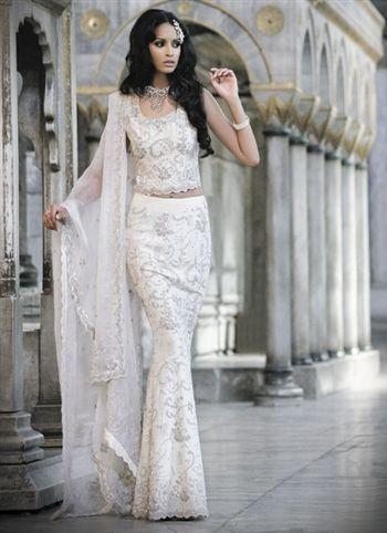 Beautiful White Silk Bridal Lengha Wedding Dress Fabrics Indian