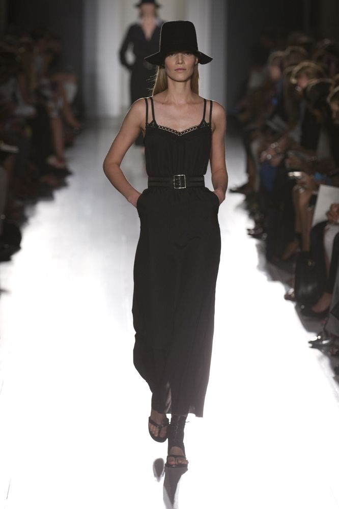 Black matt satin long backless cami dress    Victoria Beckham