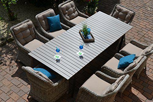 Gartenmöbel Set Comoxl 8 Tisch Ausziehbar 205260 Holzdekor Mit